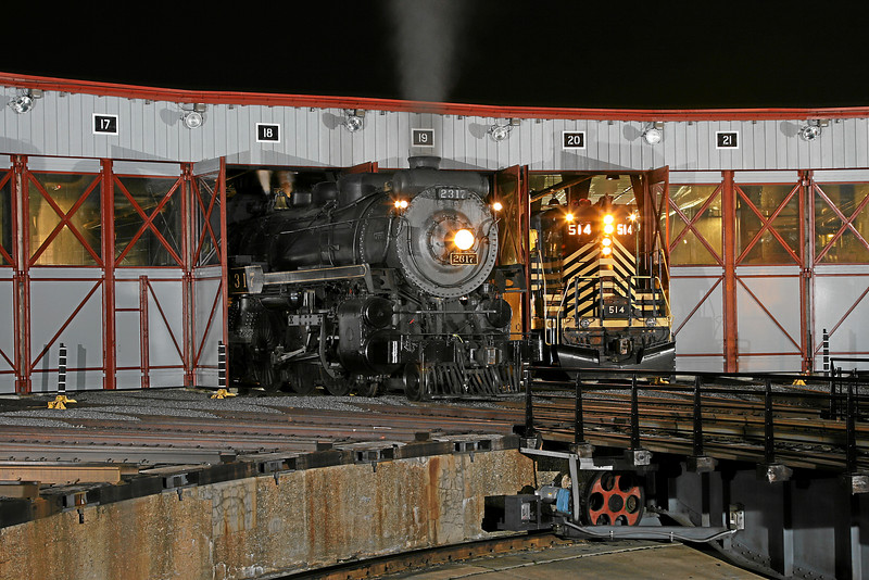 Canadian Pacific 4-6-2 #2317 and Nickel Plate GP9 #514 in the roundhouse at Steamtown - November 3, 2007