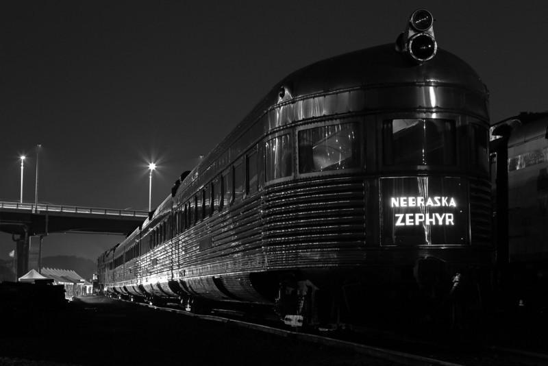 CB&Q's Nebraska Zephyr at Rock Island, Illinois