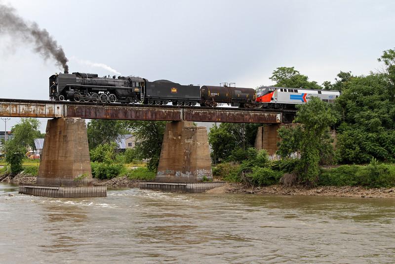 Iowa Interstate QJ 6988 crosses the Iowa River westbound at Iowa City