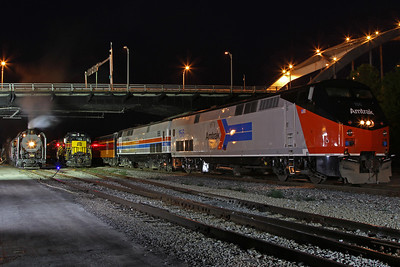 Iowa Interstate QJ #6988, Iowa Interstate GP38-2 #701, and Amtrak #156 (in heritage paint) at Rock Island, Illinois