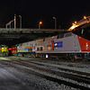 Iowa Interstate QJ #6988, Iowa Interstate GP38-2 #701, and Amtrak #156 (in heritage paint) at Rock Island, Illinois