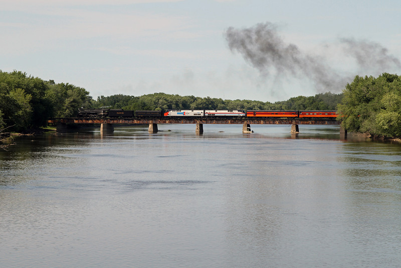 Nickel Plate 765 crosses the Rock River at Colona, Illinois