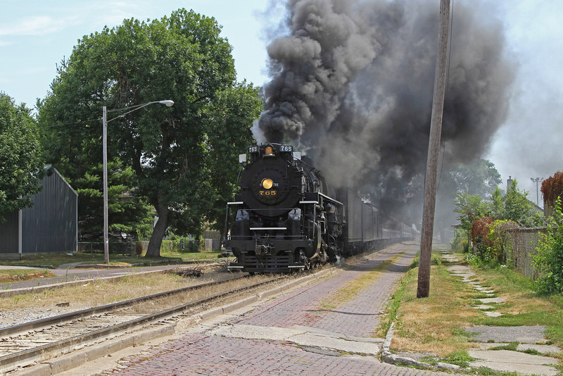 Nickel Plate 765 in the center of 5th St. (at Myrtle St.) in Davenport, Iowa