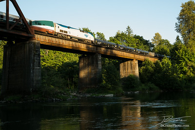 Amtrack Passes Oil Train on Trestle over Cowlitz River