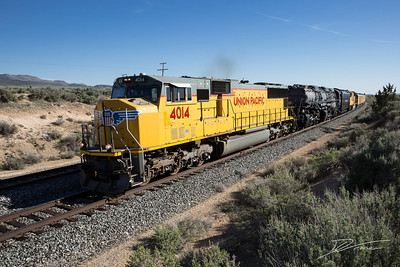 UP 4014 nears a small crossing South of Eureka, Utah