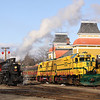 Steam engine #7470 rolls through the yard before coupling to the Polar Express consist, 12-17-10.