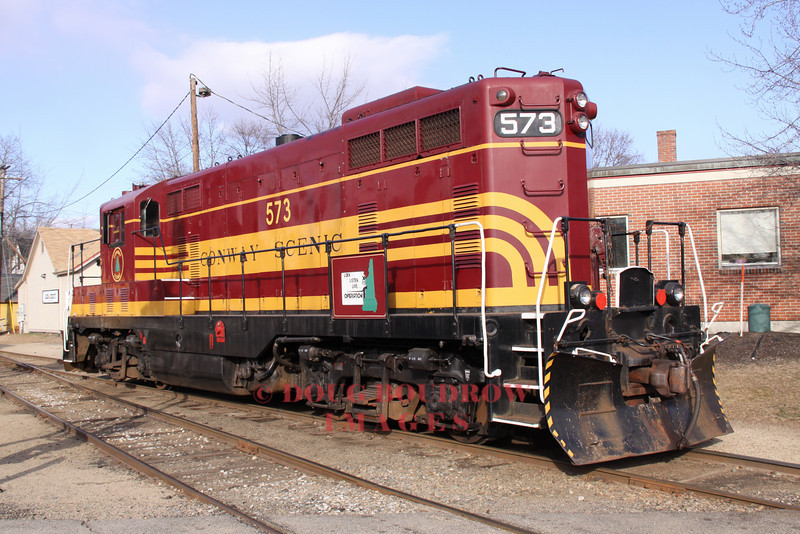 Engine #573 at the North Conway Yard before coupling to the Polar Express consist, 12-17-10.