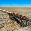 An Eastbound double stack train is seen passing over the 544-foot long bridge over Canyon Diablo, 10-10-20.