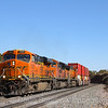 A Westbound intermodal is seen passing the rock-cut in Cosnino, 10-10-20.