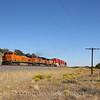 A Westbound stack train is seen running along Interstate 40 headed toward Flagstaff, Arizona, 10-10-20.
