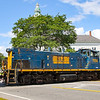 A manned helped is seen on the rear of Grafton & Upton GU-1 as the train climbs into Grafton Center, 8-2-21.