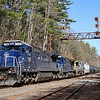 Pan Am train POAY is seen passing under the Boston & Maine searchlight signals at CPF-307 in Westford this past Saturday afternoon, 3-27-21.