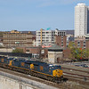 CSX intermodal Q014 arrives in Worcester and on to the lead for the intermodal facility, 4-17-17.
