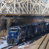 """Pan AM train LOSA pulls up to the switch to enter the former Boston & Maine """"Yard 8"""" with 28 empty gondolas bound for the Wynn Casino project in Everett, 2-22-17."""