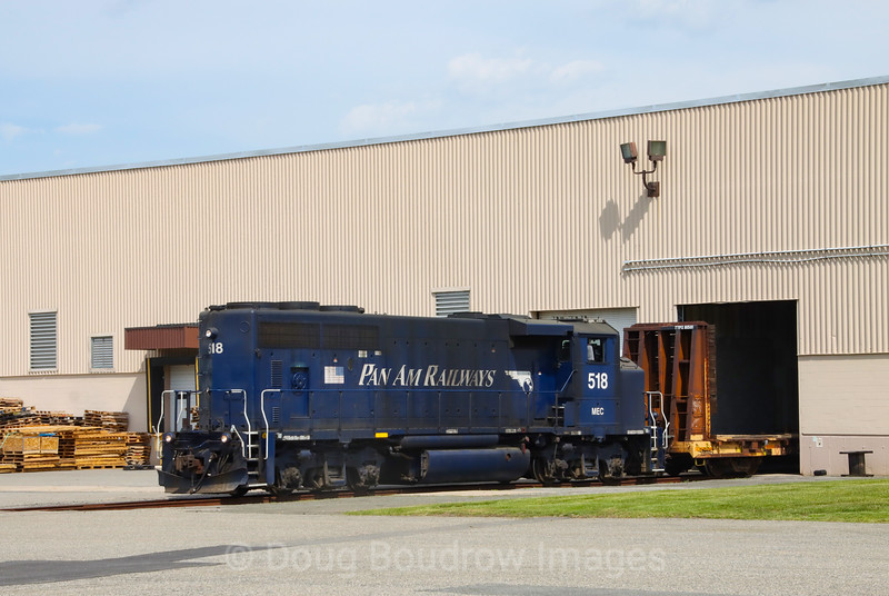 Pan Am Lawrence local LA-3 is seen switching Siegel Egg in North Billerica. The lead for this customer is off of the Iron Horse Park complex where the Boston & Maine locomotive shops once operated, 6-2-21.