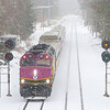 With the PTC implementation continuing on the Lowell Line, the Boston & Maine searchlight signals are rumored to be retired this weekend. I had been procrastinating shooting here but was able to squeeze out a shot of. purple train in fresh snow before the signals fall, 1-28-21.