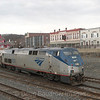 Southbound Amtrak Vermonter makes the switch from New England Central to CSX mainlines, 3-20-14.