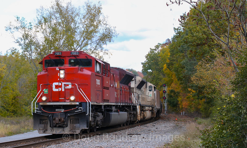 Canadian Pacific ethanol train 651 is seen passing Coons Crossing in Mechnicille with the 7021 military unit trailing, 10-6-20.