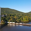 CSX priority intermodal train Q003 is seen heading North along the Hudson River on the River Sub at Bear Mountain, NY, 10-1-21.