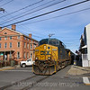 CSX Local B765 runs down the middle of South 7th Street in Hudson, 11-26-19.