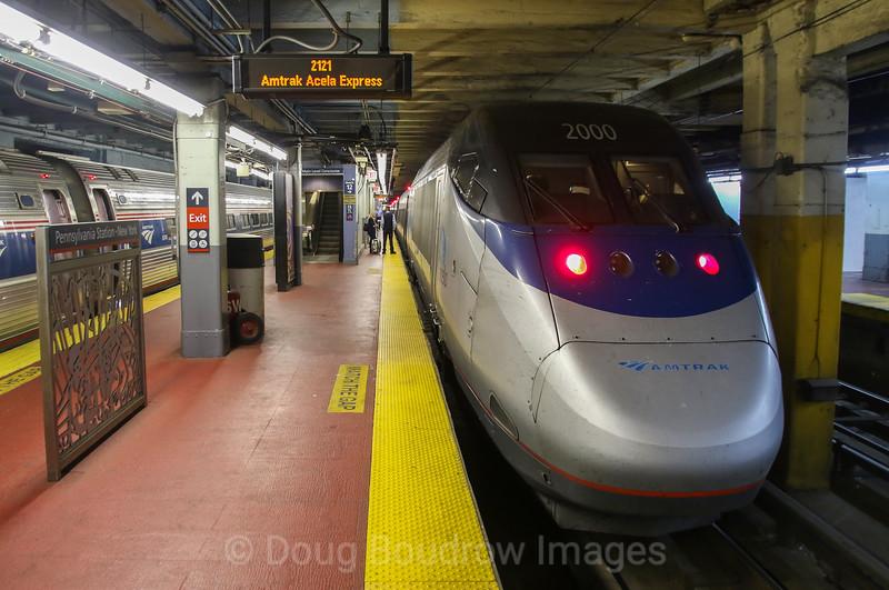 Amtrak Acela Express Train 2121 at New York Pennsylvania Station, 11-3-17.