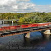 Canadian Pacific train 252 is seen crossing the Hudson River in Fort Edward, NY bound for Saratoga, 10-6-20.