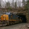 CSX Westbound autorack train at State Line Tunnel in Caanan, 1-31-20.