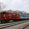 Awaiting a pickup by the Battenkill Railroad, two former Saratoga & North Creek BL2s and a Greenwich & Johnsonville caboose are seen sitting at the interchange at Eagle Bridge, New York, 1-31-20.