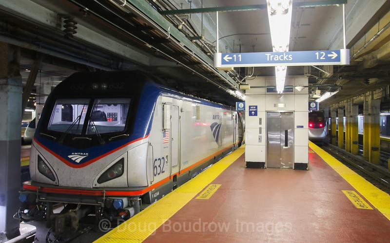 Amtrak Northeast Regional train 174 prepares to depart New York Penn Station for Boston, 11-3-17.