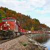 Canadian Pacific train 252 is seen passing a location known as Craig Harbor along Lake Champlain at MP 118 on the old Delaware & Hudson line just North of Port Henry, NY, 10-6-20.