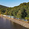 CSX intermodal train Q-007 is seen heading North along the Hudson River near Fort Montgomery and Bear Mountain. The train is traveling on the CSX River Line, 10-1-21.