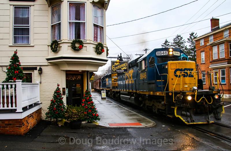 CSX Local B765 runs through the Town of Hudson, 11-26-18.