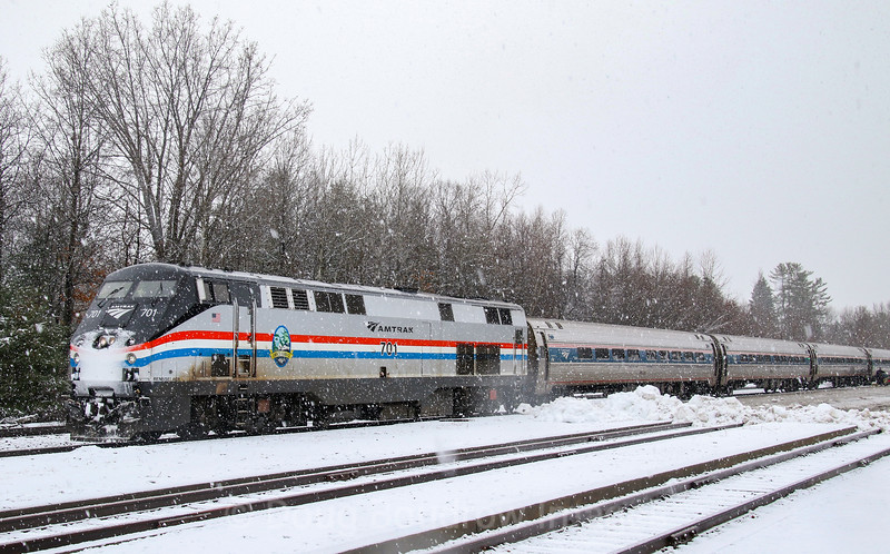 """Amtrak's Southbound """"Ethan Allen"""" stops at Saratoga Springs, 11-27-18."""