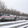"Amtrak's Southbound ""Ethan Allen"" stops at Saratoga Springs, 11-27-18."