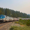 The Westbound California Zephyr is seen coming down from Donner Summit at Norden. The air is thick with smoke from the ongoing wildfires in the Pacific Northwest, 8-18-21.