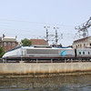 Amtrak Acela passes New London, CT, 6-9-11.