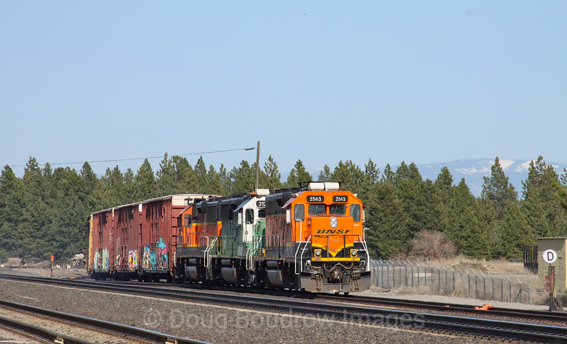 A BNSF local is seen waiting for a crew at Hauser Junction, 4-6-21.