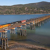 An Eastbound tank train is seen crossing Lake Pend Oreille in Sandpoint, Idaho, 4-6-21.