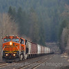A Westbound grain train is seen at Bottle Bay Road in Sagle, 4-7-21.