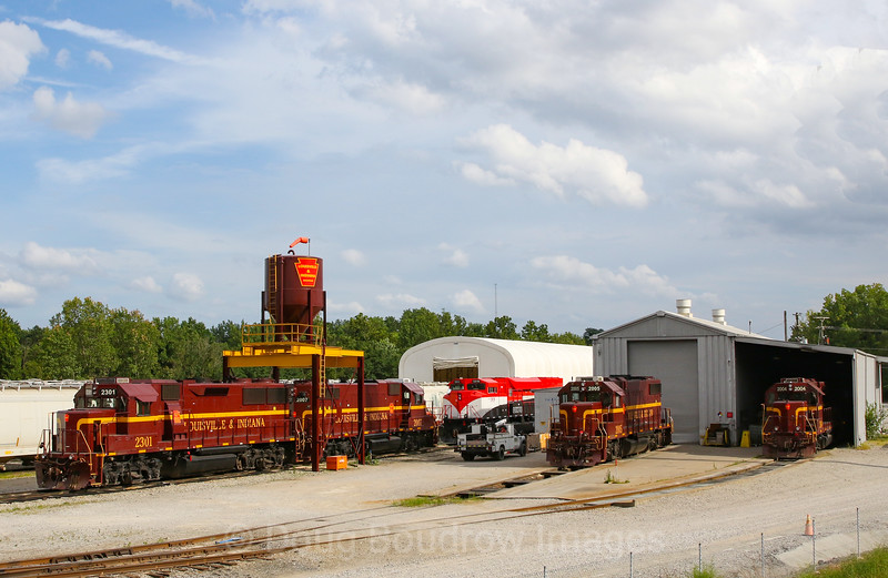 Louisville & Indiana Railroad power sits in the yard at Jeffersonville on a humid and stormy summer afternoon, 7-16-19.