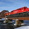 Canadian Pacific 250 is seen crossing the East Outlet of Moosehead Lake on the Moosehead Subdivision in Moosehead, Maine. Yes, there is a common theme here. The daily train travels between Montreal, Quebec, and Brownville Junction, Maine, 2-19-21.