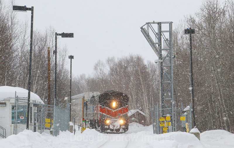 Canadian Pacific Train 250 is seen about to pull through the customs scanner in Jackman, Maine after arriving from Montreal, Quebec. The Canadian crew has just handed the train over to the American crew who will take the train through the scanner then continue to Brownville Junction, Maine. The CP purchased this line from Central Maine Quebec last year and acquired the SD40-2F locomotives in the sale. Ironically enough both the line and the locomotives used to belong to CP. The Bangor & Aroostook heritage unit is in charge today as a system power shortage has been forcing CP to put the classic engines in service, 2-20-21.