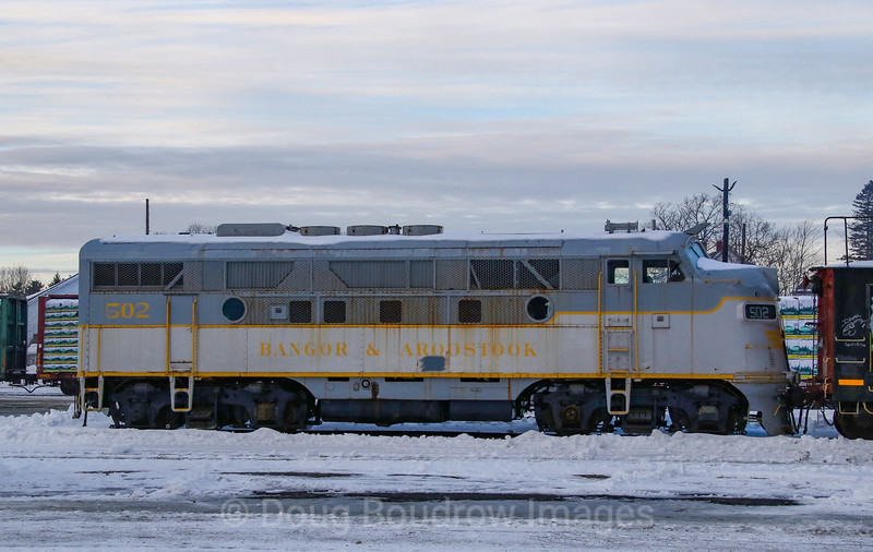 A former Bangor & Aroostook F3A is seen sitting at Brownville Junction with an uncertain fate after the Canadian Pacific takeover of Central Maine & Quebec, 2-19-20.