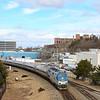 Amtrak Downeaster 694 is seen departing Portland, 3-6-20.