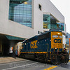 """CSX Local B721 runs right through the middle of the Massachusetts Institute of Technology's Brain Research Center in Cambridge. The train is crossing over the """"Grand Junction"""" which was originally part of the Boston an Albany Railroad. The train is headed from Framingham to Everett to service industrial customers there, 3-1-17."""