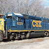 A CSX GP40-2 sits awaiting its next assignment at Walpole Yard, 1-12-14.