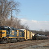 CSX Local B740 puts a train together just off the main, 3-20-14.