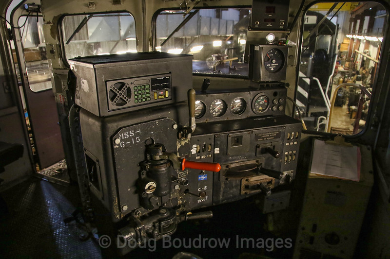 A look inside the cab of Fore River Transportation's 1969 GP38, which was originally built for Penn Central. Photo taken inside their Quincy Shops, 1-6-19.