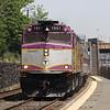 MBTA #1051 passes through Newton, MA during a hot weekday, 5-26-10.