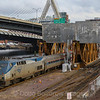 Amtrak's Downeaster Train 684 arrives into Boston crossing over the historic Tower A draw bridge just outside North station. The train traveled from Brunswick, Maine to Boston, 3-1-17.